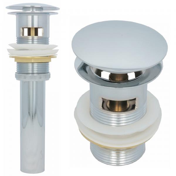 Ablaufventil mit Überlauf Ablaufgarnitur Pop Up Ventil Messing Chrom