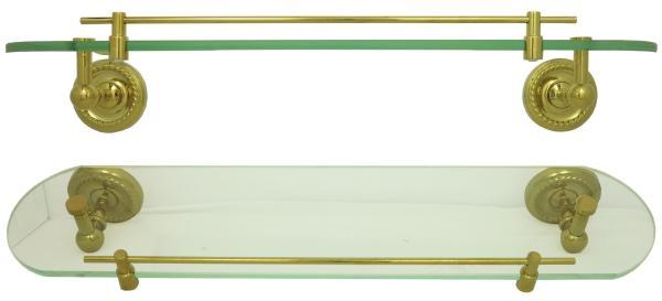 Glasablage Bad Ablagekonsole Retro Glasregal Nostalgie 52cm lang Gold 9012