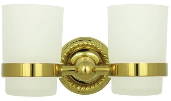 Zahnputzbecher Mundspülbecher Zahnbürsten Becher Halter 2er Set Gold 9003