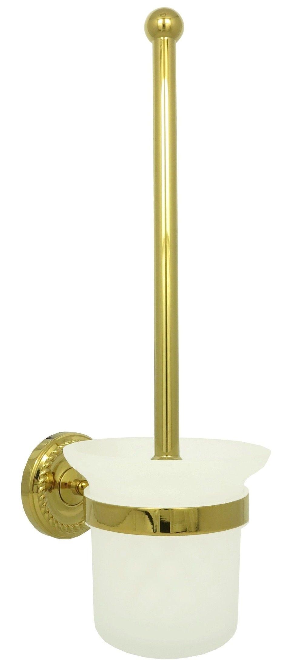 Retro WC Toiletten Bürstengarnitur Bürstenhalter Milchglas Gold 9008    Dirks Traumbad